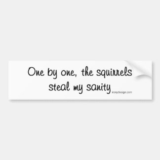 The squirrels steal my sanity bumper sticker