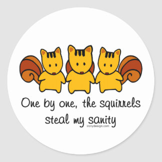The squirrels steal my sanity classic round sticker