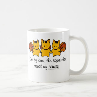 The squirrels steal my sanity classic white coffee mug