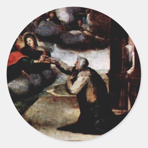 The St. Catherine Receiving The Stigmata Round Sticker