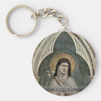 The St. Clare Of AssisiDetail By Giotto Di Bondone Basic Round Button Keychain