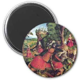 The St. George Fighting The Dragon By Beck Leonhar Refrigerator Magnet