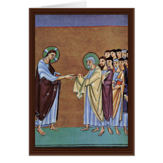 The St. Peter Receiving The Keys By Meister Des Pe Greeting Card
