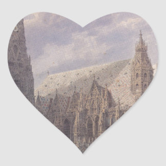 The St. Stephen's Cathedral in Vienna by Rudolf vo Heart Sticker