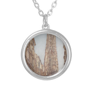 The St. Stephen's Cathedral in Vienna by Rudolf vo Silver Plated Necklace