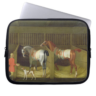 The Stables and Two Famous Running Horses belongin Computer Sleeve