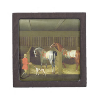 The Stables and Two Famous Running Horses belongin Jewelry Box