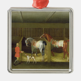 The Stables and Two Famous Running Horses belongin Square Metal Christmas Ornament