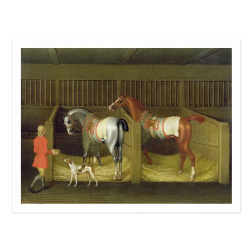 The Stables and Two Famous Running Horses belongin Postcards