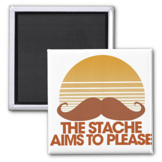 The Stache Aims to Please 2 Inch Square Magnet