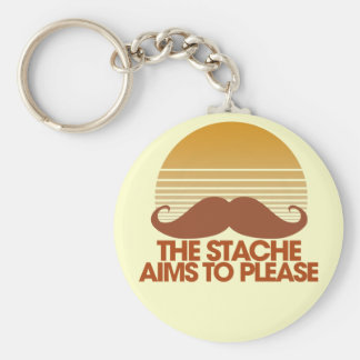 The Stache Aims to Please Basic Round Button Keychain