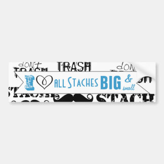 The Stache Moustache Pattern Bumper Sticker