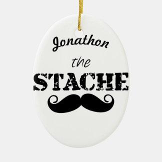 The Stache Moustache Pattern Ceramic Ornament