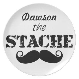 The Stache Moustache Pattern Melamine Plate