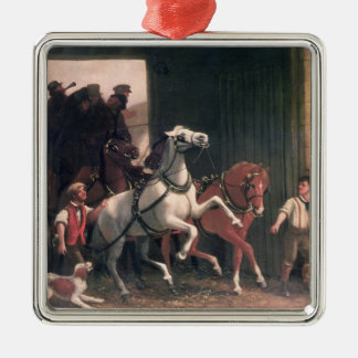 The Stage Arrives, c.1830 Square Metal Christmas Ornament