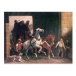The Stage Arrives, c.1830 Postcard