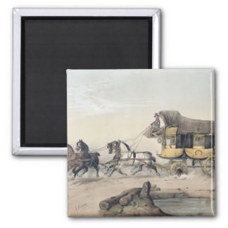 The Stage Coach 2 Inch Square Magnet