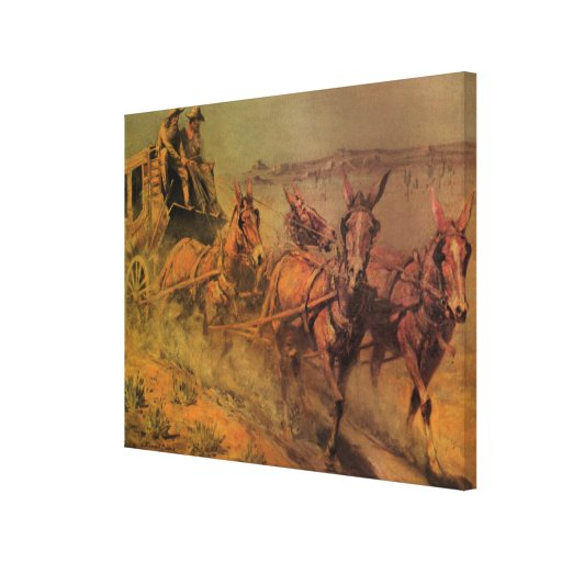 The Stage Coach by John Borein, Vintage Cowboys Gallery Wrap Canvas
