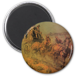 The Stage Coach by John Borein, Vintage Cowboys 2 Inch Round Magnet