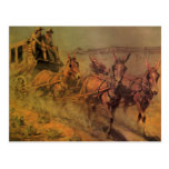 The Stage Coach by John Borein, Vintage Cowboys Postcard