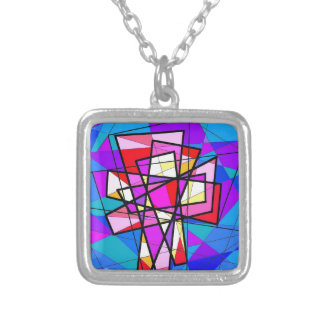 The Stained Glass Crucifix. Square Pendant Necklace