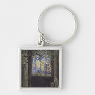 The Stained Glass Window, 1904 Silver-Colored Square Keychain