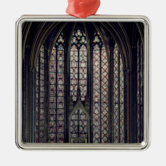 The stained glass window square metal christmas ornament