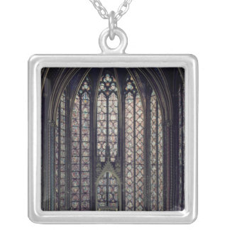 The stained glass window square pendant necklace
