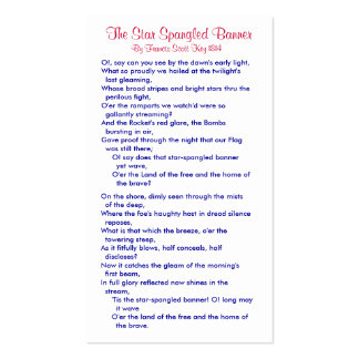 The Star Spangled Banner (4) Double-Sided Standard Business Cards (Pack Of 100)