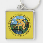 The Star Square Keychain with Text
