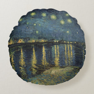 The Starry Night, 1888 2 Round Pillow
