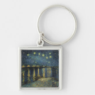 The Starry Night, 1888 Silver-Colored Square Keychain