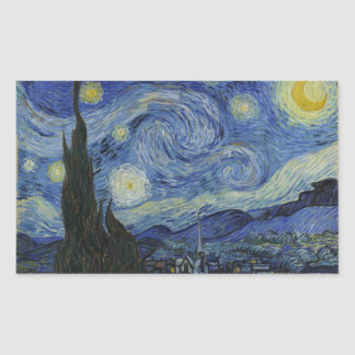 The Starry Night 1889 Vincent van Gogh Rectangular Sticker