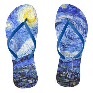The Starry Night by Van Gogh Flip Flops