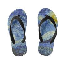 The Starry Night by Van Gogh Kid's Flip Flops