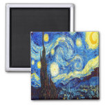 The Starry Night by Vincent van Gogh 1889 2 Inch Square Magnet