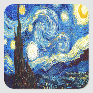 The Starry Night by Vincent van Gogh 1889 Square Sticker