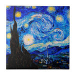 """The Starry Night by Vincent Van Gogh Ceramic Tile<br><div class=""""desc"""">Vincent Van Gogh The Starry Night. This is an old masterpiece from the dutch master painter Vincent Van Gogh.This fine art landscape painting has beautiful,  vibrant,  saturated color. Vincent Van Gogh was a dutch post impressionist painter. This image is in the public domain</div>"""