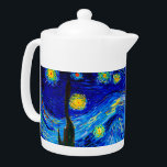 """The Starry Night by Vincent Van Gogh Teapot<br><div class=""""desc"""">Vincent Van Gogh The Starry Night. This is an old masterpiece from the dutch master painter Vincent Van Gogh.This fine art landscape painting has beautiful,  vibrant,  saturated color. Vincent Van Gogh was a dutch post impressionist painter. This image is in the public domain</div>"""