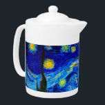 "The Starry Night by Vincent Van Gogh Teapot<br><div class=""desc"">Vincent Van Gogh The Starry Night. This is an old masterpiece from the dutch master painter Vincent Van Gogh.This fine art landscape painting has beautiful,  vibrant,  saturated color. Vincent Van Gogh was a dutch post impressionist painter. This image is in the public domain</div>"