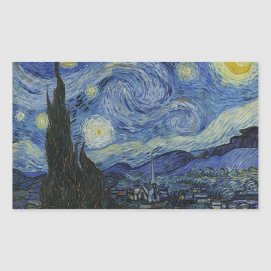 The Starry Night Rectangle Sticker