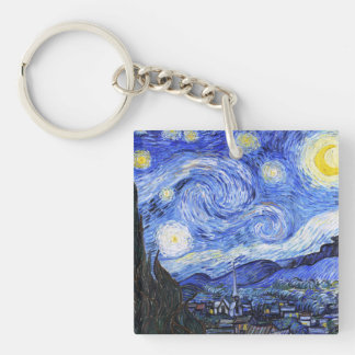 The Starry Night Van Gogh Double-Sided Square Acrylic Keychain