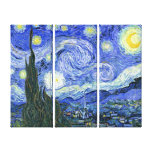 The Starry Night ~ Vincent van Gogh ~ Triptych Stretched Canvas Prints