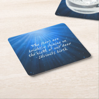 The Stars Shining Bright On The Dear Saviors Birth Square Paper Coaster