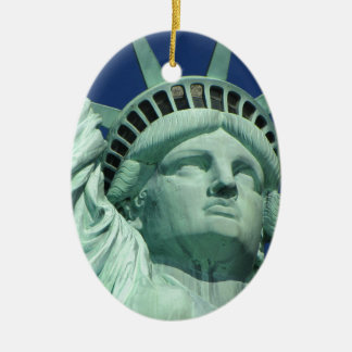 The Statue Of Liberty At New York City Ceramic Ornament