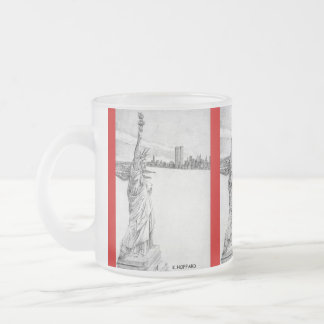"""""""The Statue of Liberty"""" 10 Oz Frosted Glass Coffee Mug"""