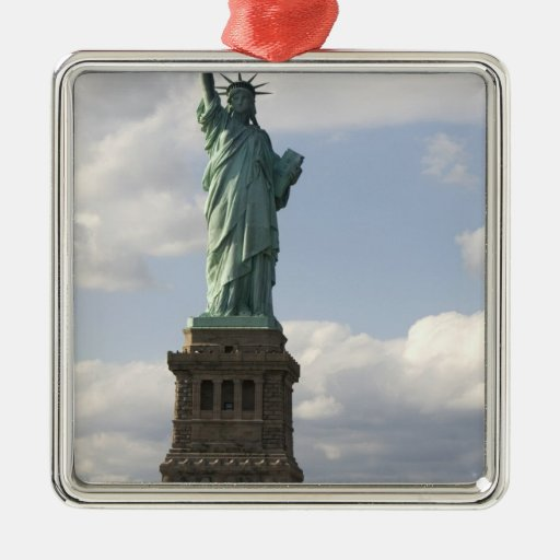 The Statue of Liberty on Liberty Island in New Square Metal Christmas Ornament