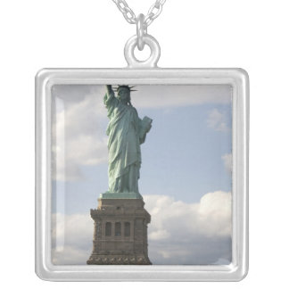 The Statue of Liberty on Liberty Island in New Square Pendant Necklace
