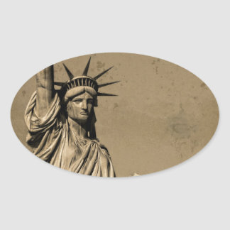 The Statue Of Liberty Oval Sticker