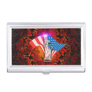 The Statue of Liberty with decorative floral elmen Business Card Holder